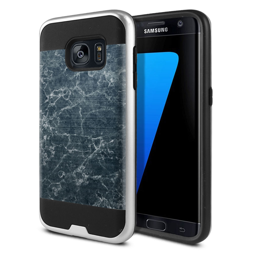Samsung Galaxy S7 G930 Hybrid Fusion Brushed Blue Stone Marble Protector Cover Case