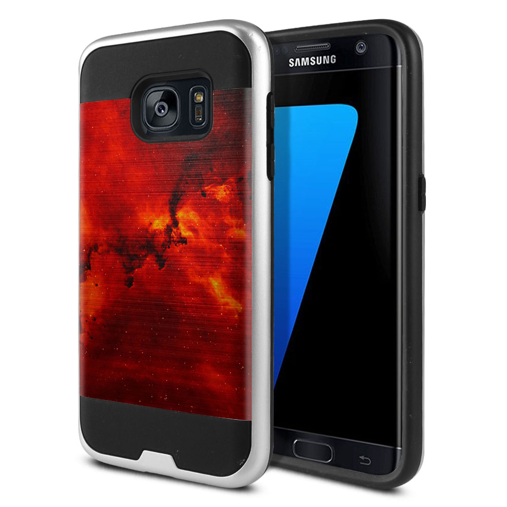 Samsung Galaxy S7 G930 Hybrid Fusion Brushed Fiery Galaxy Protector Cover Case