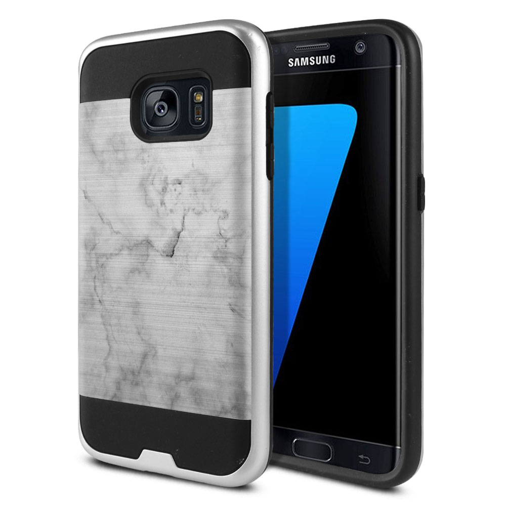 Samsung Galaxy S7 G930 Hybrid Fusion Brushed Grey Cloudy Marble Protector Cover Case