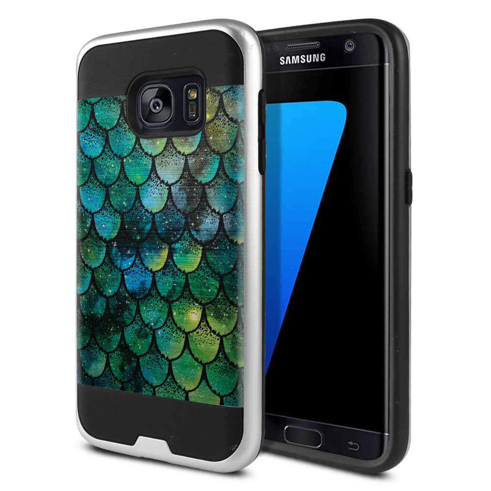 Samsung Galaxy S7 G930 Hybrid Fusion Brushed Green Mermaid Scales Protector Cover Case