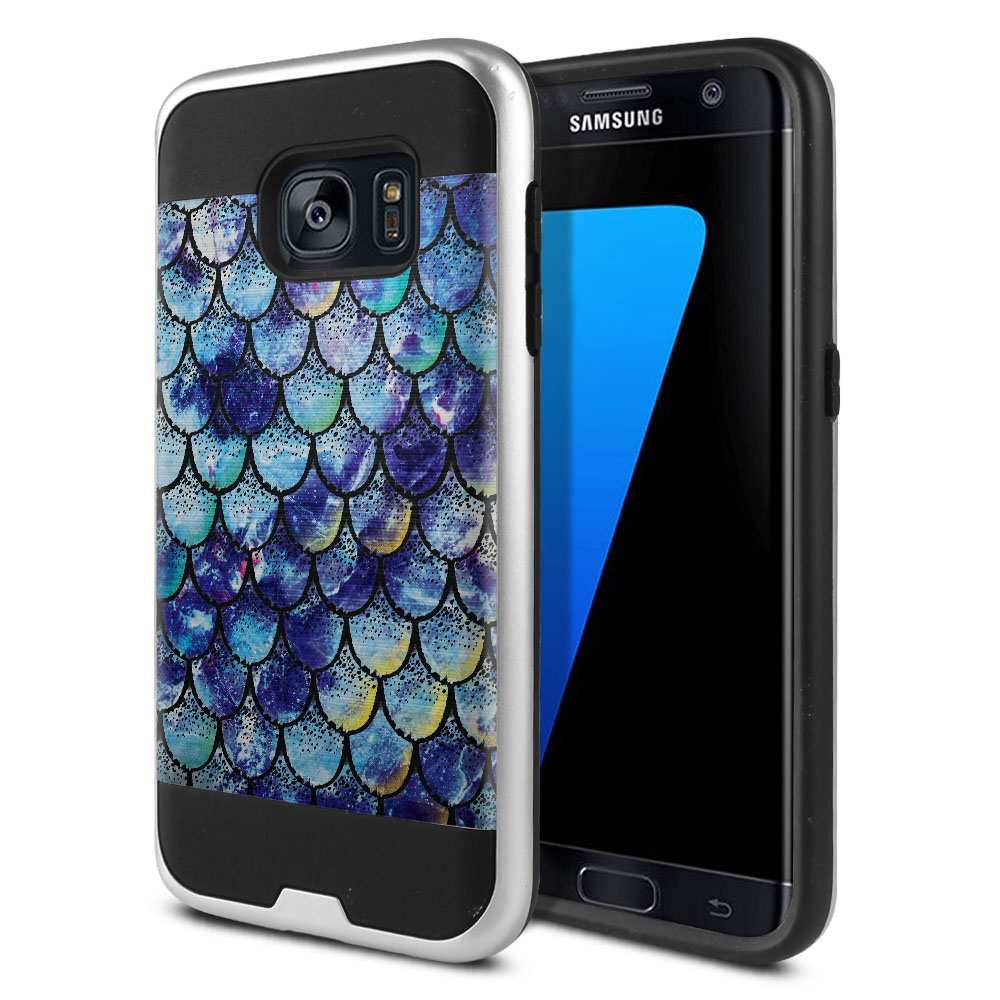 Samsung Galaxy S7 G930 Hybrid Fusion Brushed Purple Mermaid Scales Protector Cover Case