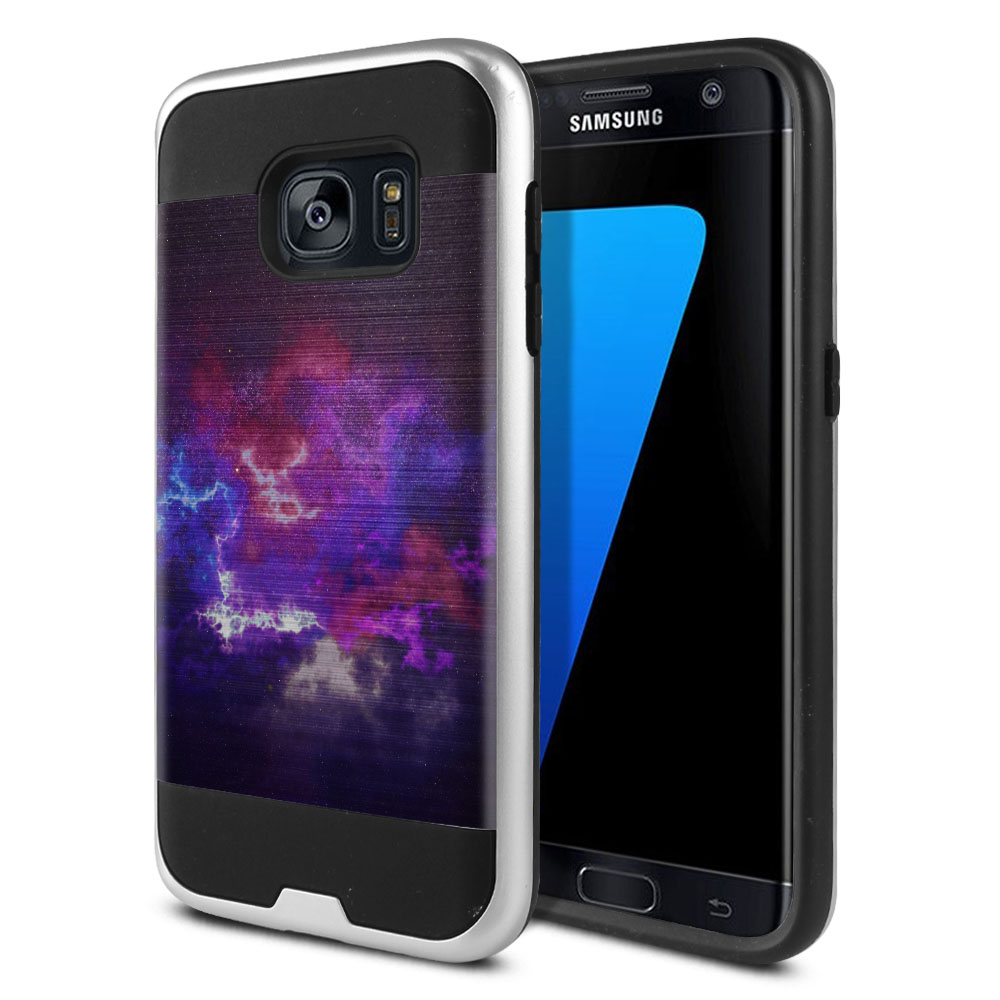 Samsung Galaxy S7 G930 Hybrid Fusion Brushed Purple Nebula Space Protector Cover Case