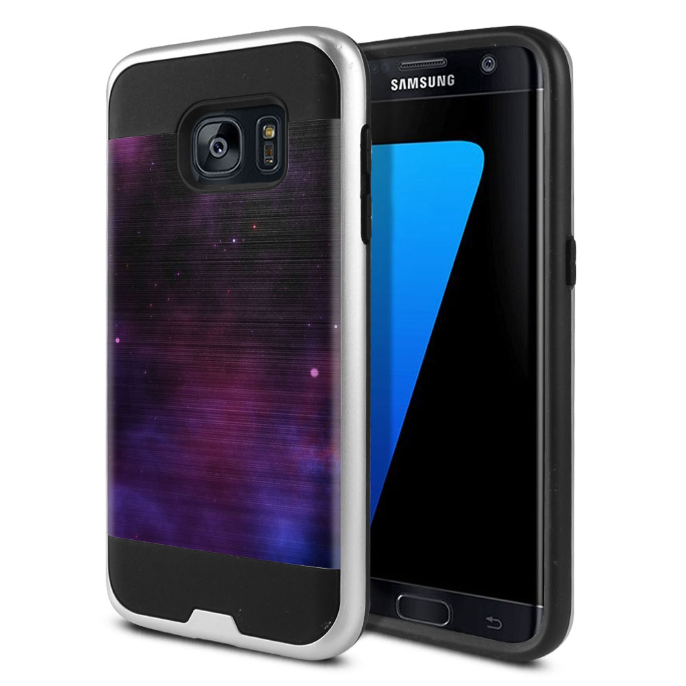 Samsung Galaxy S7 G930 Hybrid Fusion Brushed Purple Space Stars Protector Cover Case