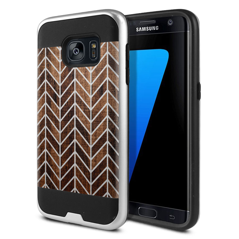 Samsung Galaxy S7 G930 Hybrid Fusion Brushed Modern Chevron Wood Protector Cover Case