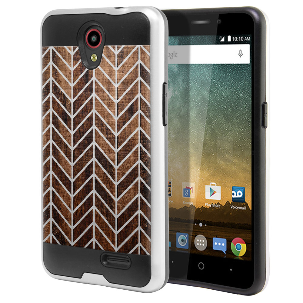 ZTE Prestige N9132 Hybrid Fusion Brushed Modern Chevron Wood Protector Cover Case