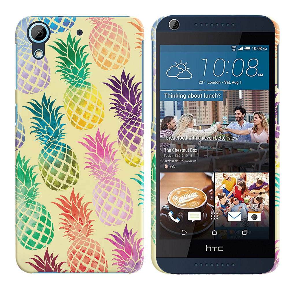 HTC Desire 626-HTC Desire 626S Pastel Colorful Pineapple Yellow Pastel Back Cover Case