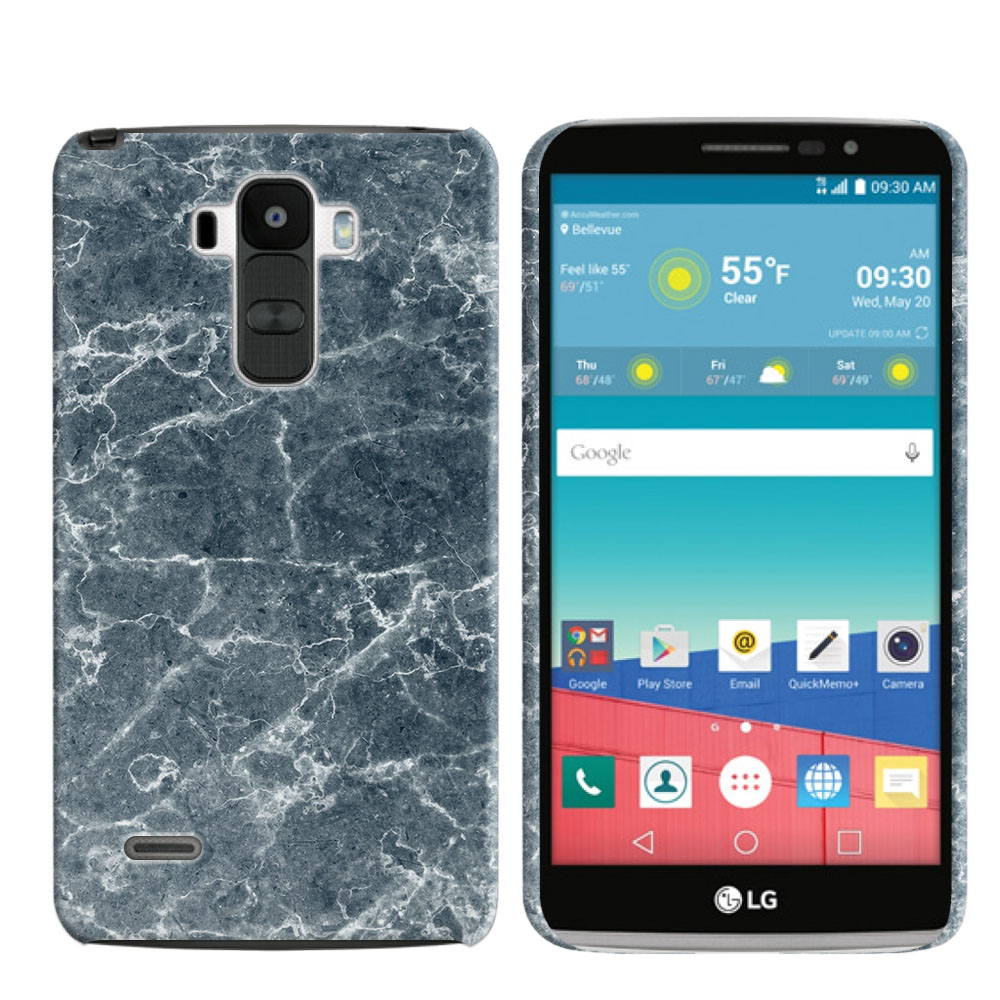 LG G Stylo LS770 G4 Note Blue Stone Marble Back Cover Case