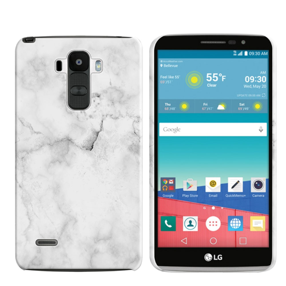 LG G Stylo LS770 G4 Note Grey Cloudy Marble Back Cover Case