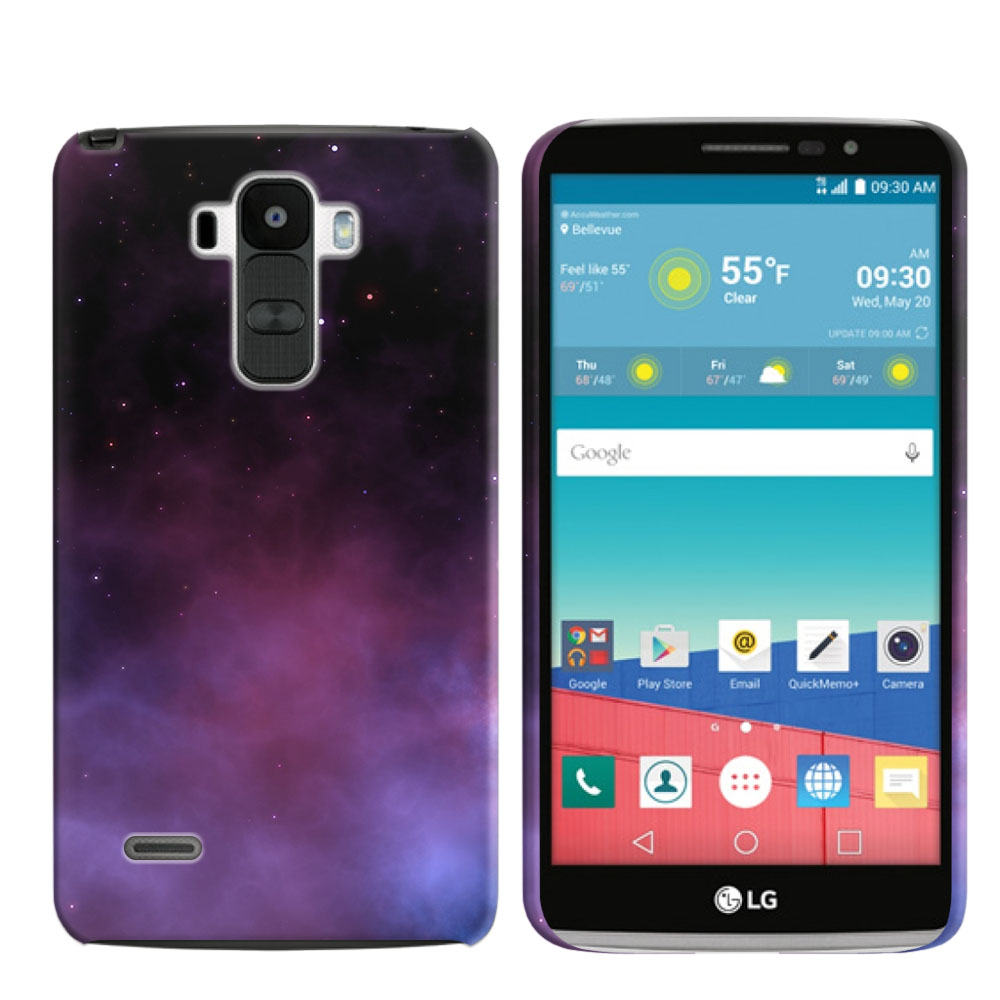 LG G Stylo LS770 G4 Note Purple Space Stars Back Cover Case