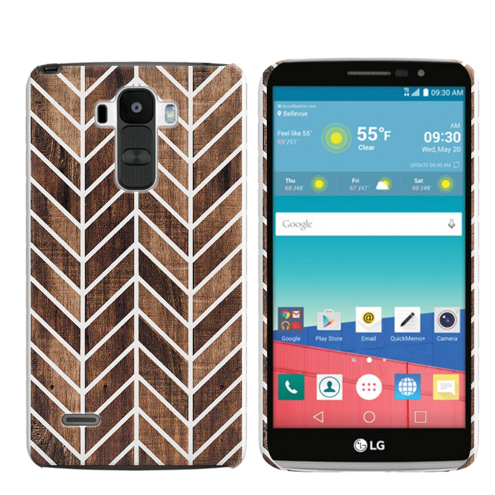 LG G Stylo LS770 G4 Note Wood Chevron Back Cover Case