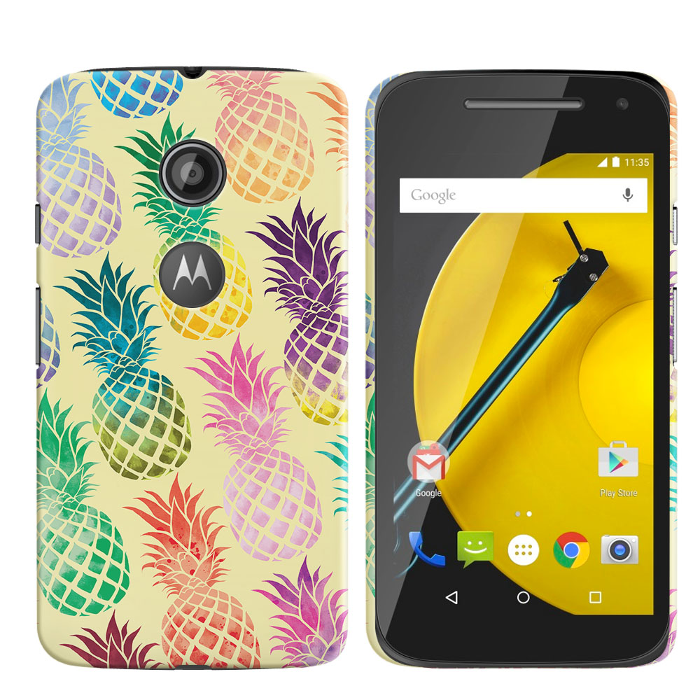 Motorola Moto E LTE 2nd Gen 2015 Pastel Colorful Pineapple Yellow Pastel Back Cover Case