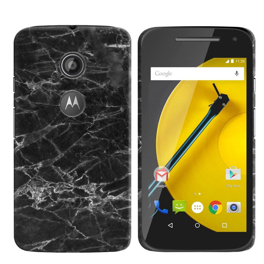 Motorola Moto E LTE 2nd Gen 2015 Black Stone Marble Back Cover Case