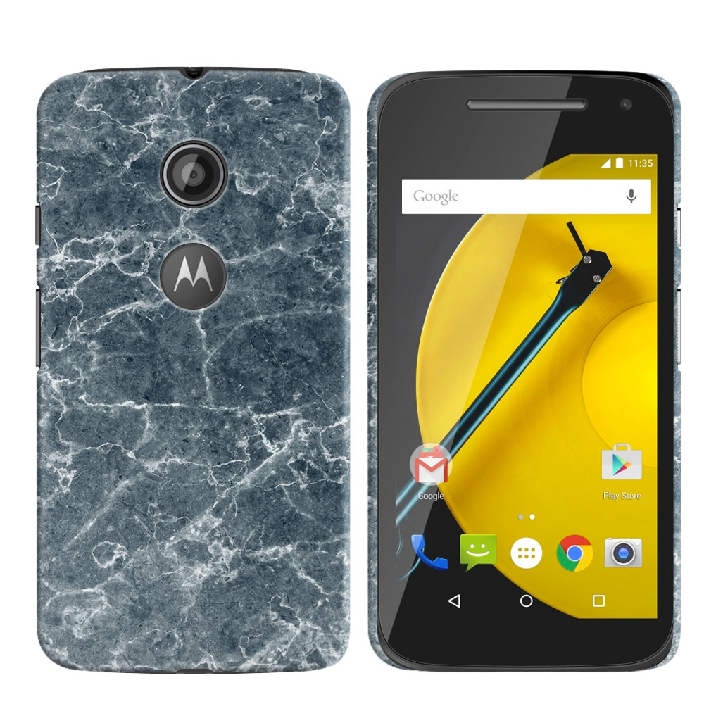Motorola Moto E LTE 2nd Gen 2015 Blue Stone Marble Back Cover Case