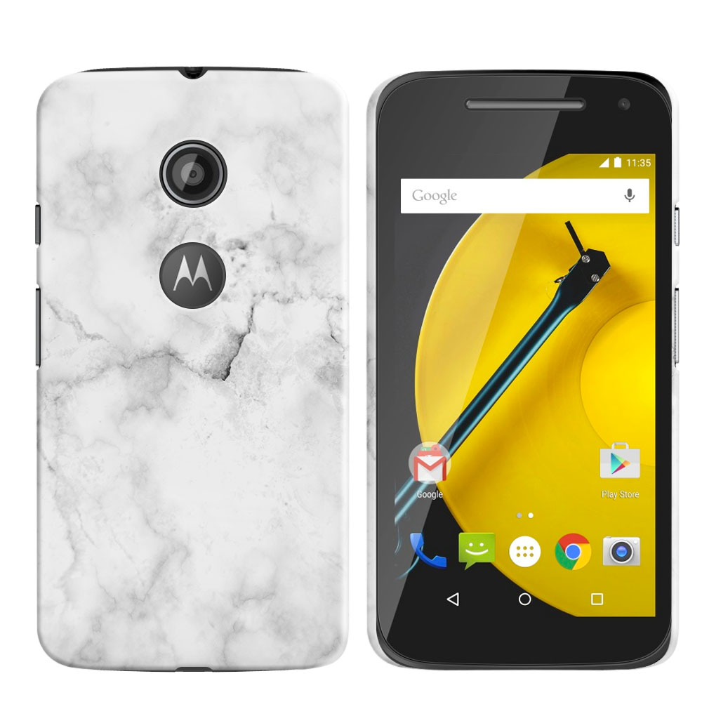 Motorola Moto E LTE 2nd Gen 2015 Grey Cloudy Marble Back Cover Case