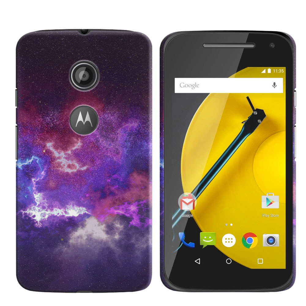 Motorola Moto E LTE 2nd Gen 2015 Purple Nebula Space Back Cover Case