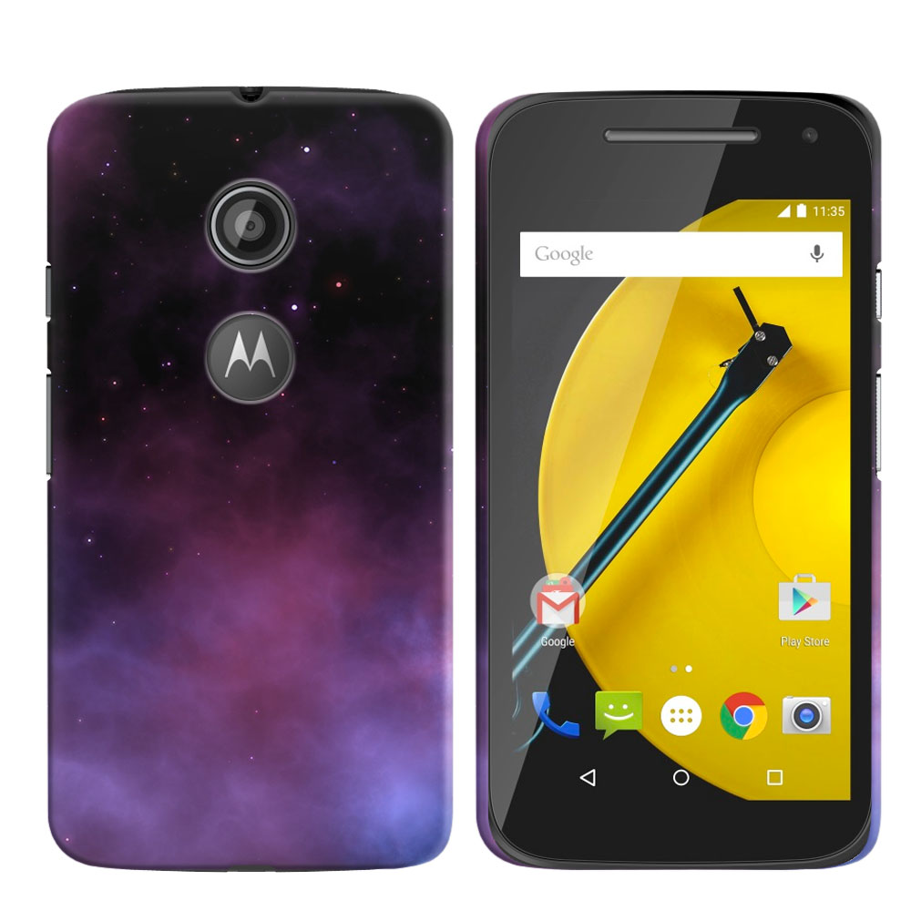 Motorola Moto E LTE 2nd Gen 2015 Purple Space Stars Back Cover Case