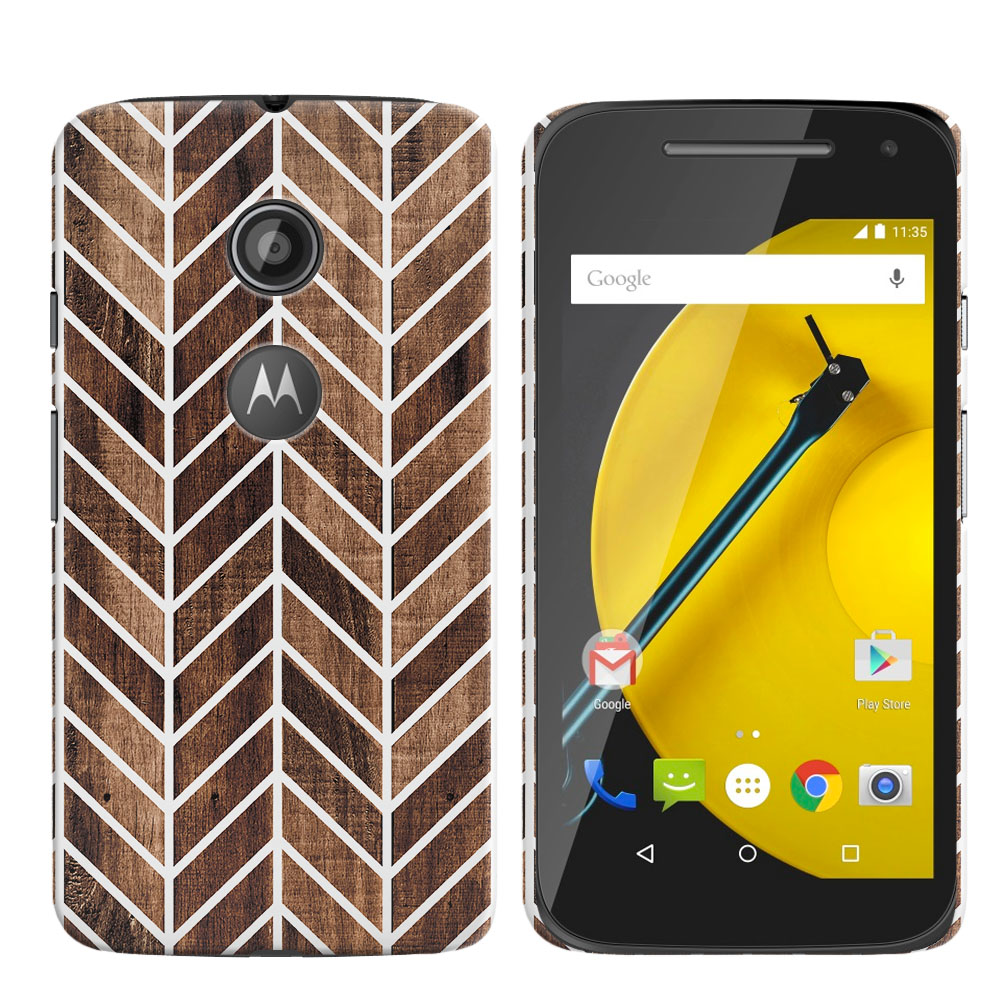 Motorola Moto E LTE 2nd Gen 2015 Wood Chevron Back Cover Case