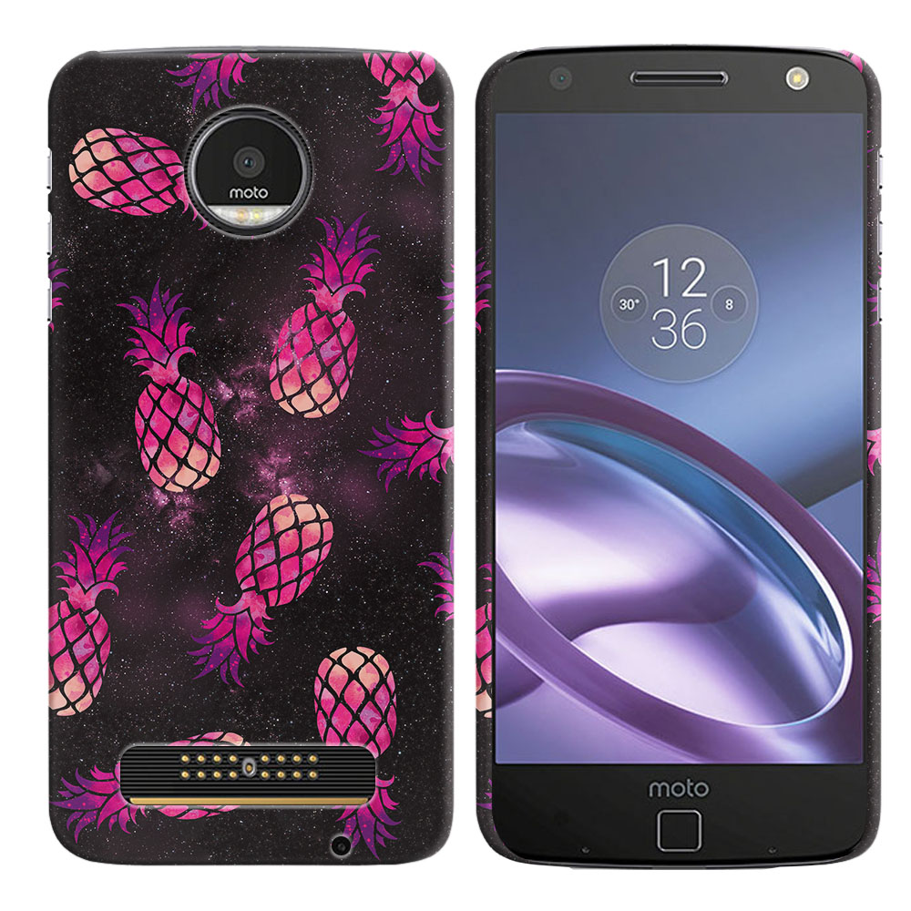 Motorola Moto Z Droid Edition Hot Pink Pineapple Pattern In Galaxy Back Cover Case
