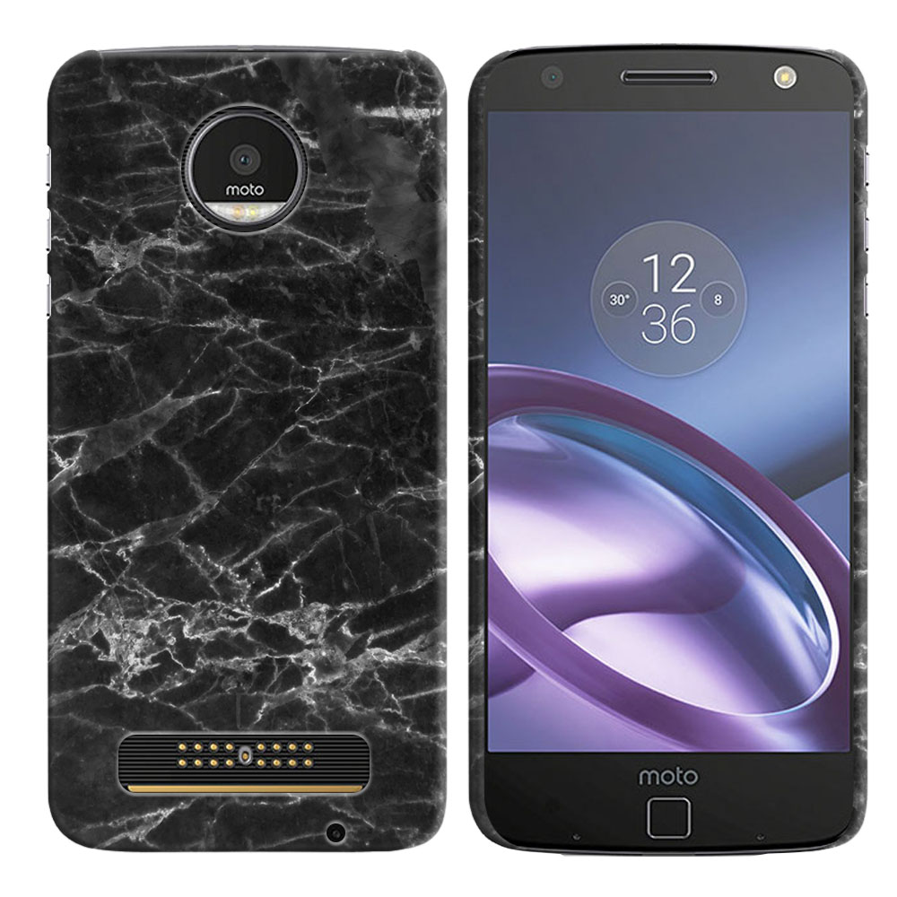 Motorola Moto Z Droid Edition Black Stone Marble Back Cover Case