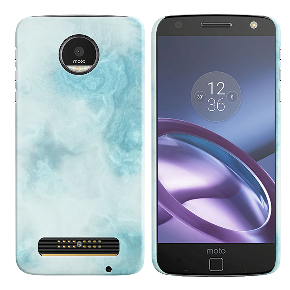 Motorola Moto Z Droid Edition Blue Cloudy Marble Back Cover Case