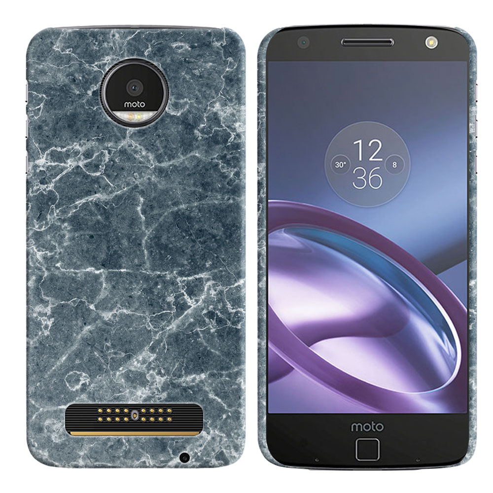 Motorola Moto Z Droid Edition Blue Stone Marble Back Cover Case
