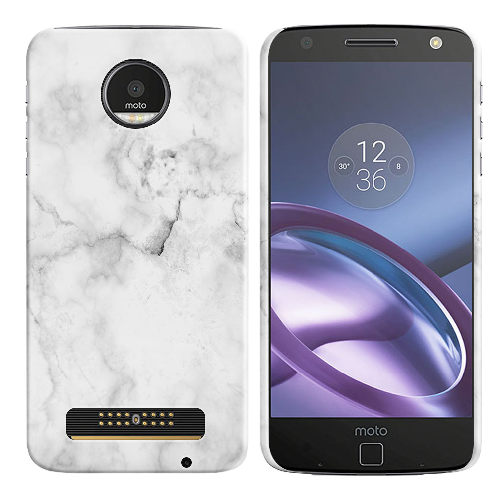 Motorola Moto Z Droid Edition Grey Cloudy Marble Back Cover Case