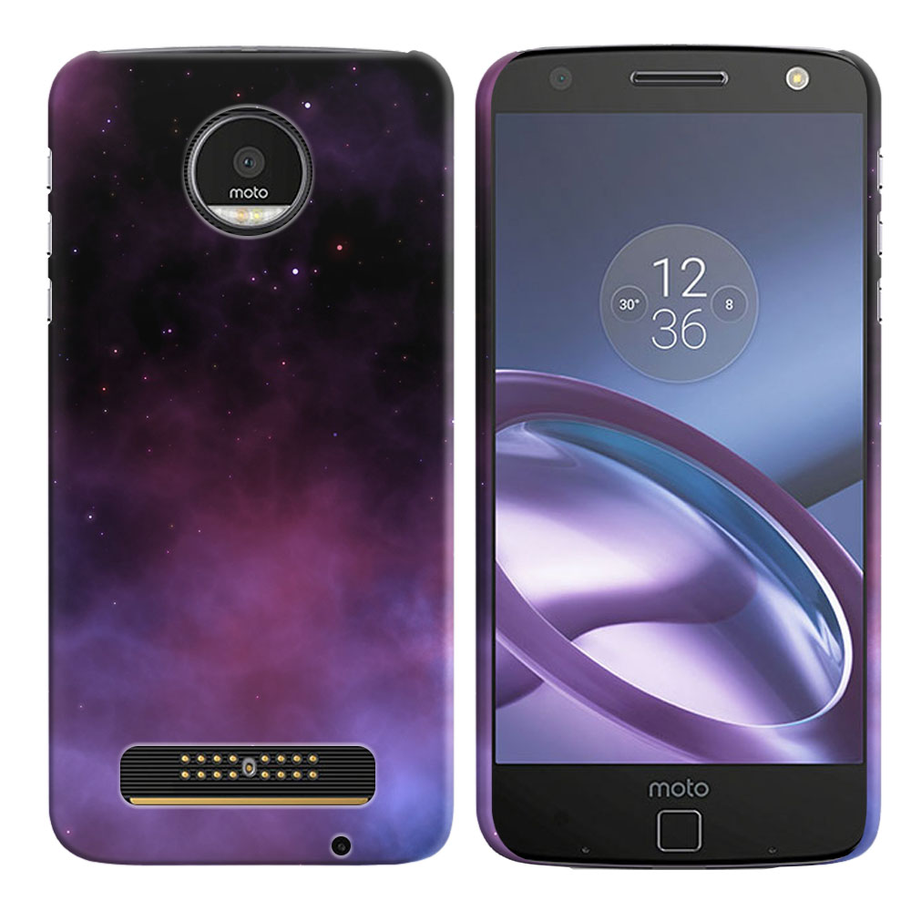 Motorola Moto Z Droid Edition Purple Space Stars Back Cover Case