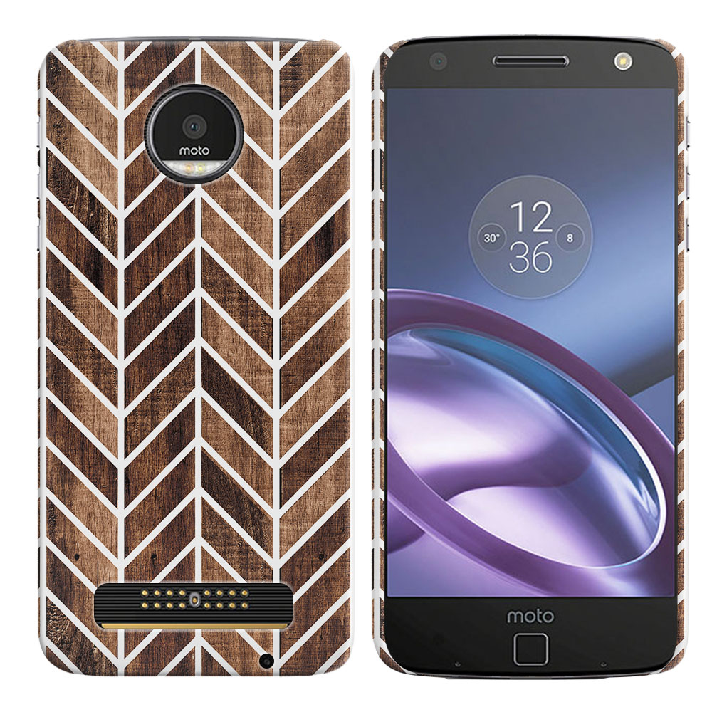Motorola Moto Z Droid Edition Wood Chevron Back Cover Case