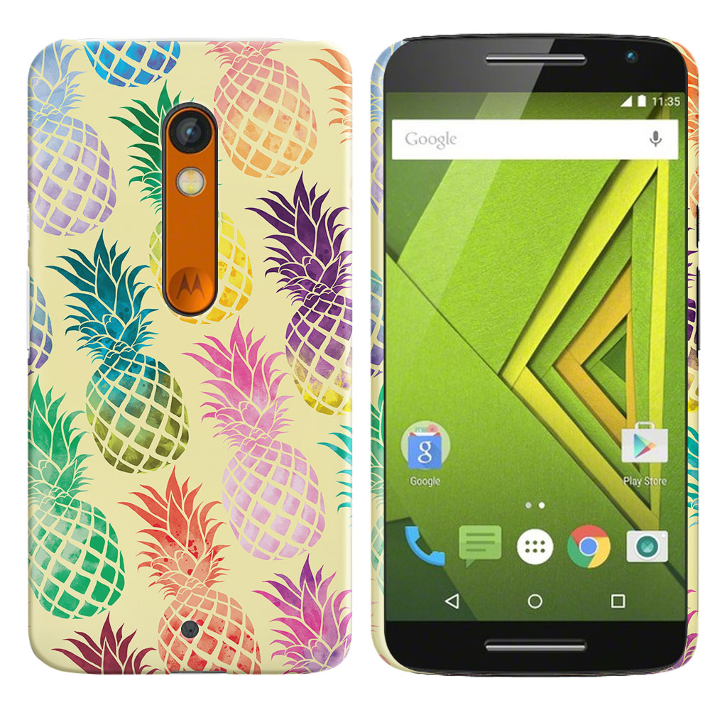 Motorola Moto X Play XT1562 Pastel Colorful Pineapple Yellow Pastel Back Cover Case