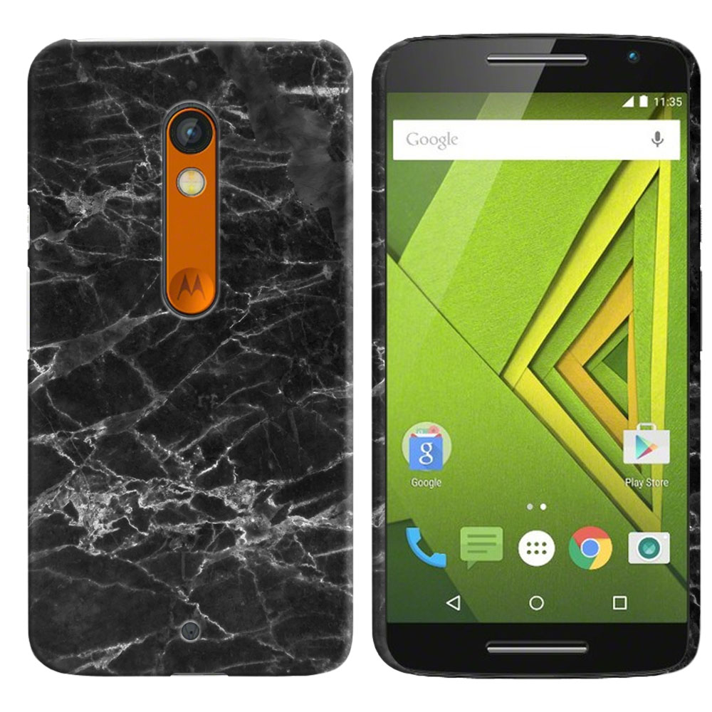 Motorola Moto X Play XT1562 Black Stone Marble Back Cover Case