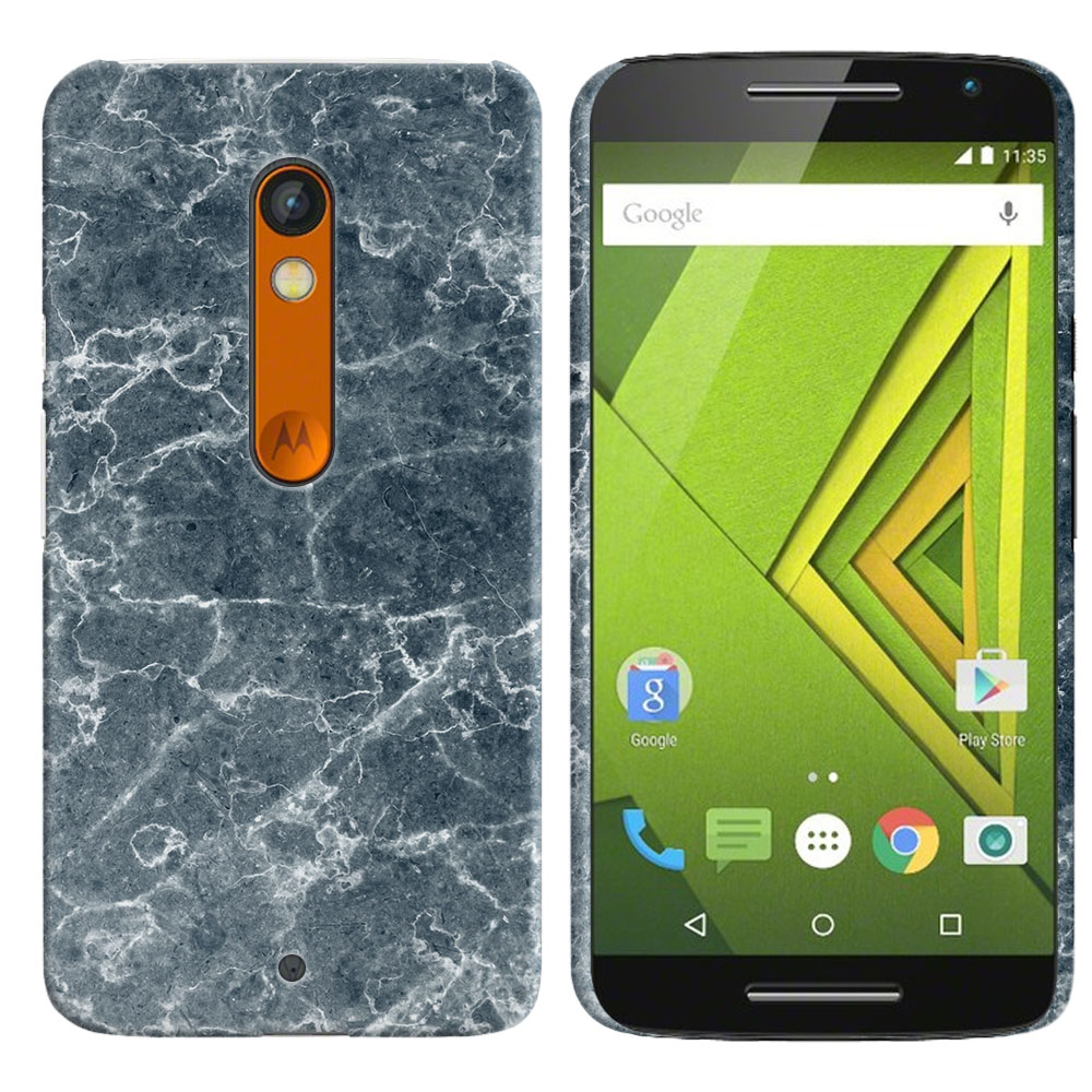 Motorola Moto X Play XT1562 Blue Stone Marble Back Cover Case