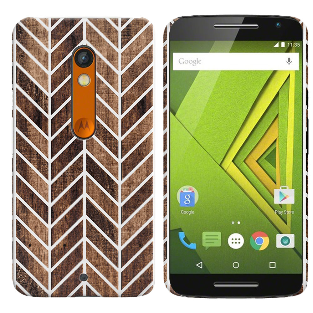 Motorola Moto X Play XT1562 Wood Chevron Back Cover Case