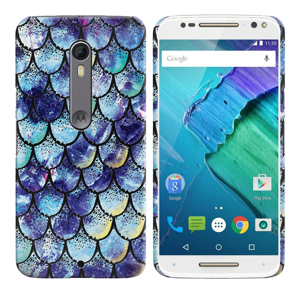 Motorola Moto X Style XT1575 Pure Edition 3rd Gen Purple Mermaid Scales Back Cover Case