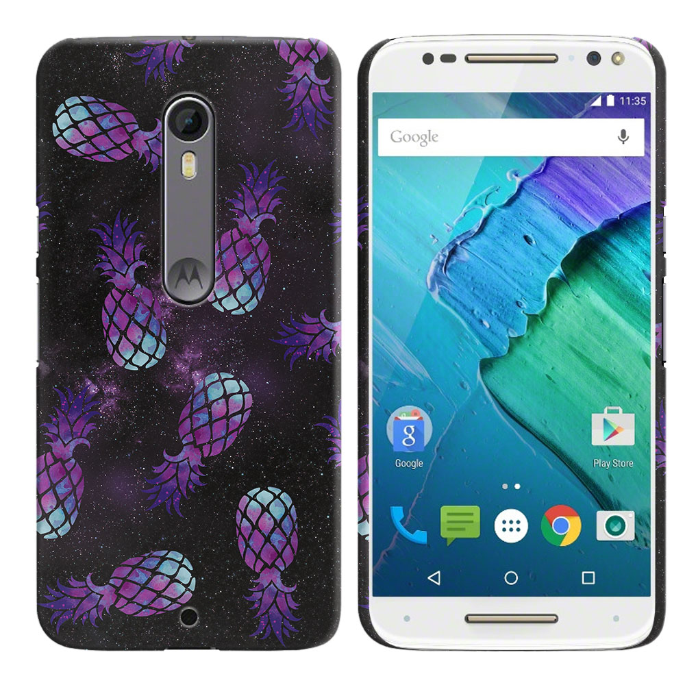 Motorola Moto X Style XT1575 Pure Edition 3rd Gen Purple Pineapples Galaxy Back Cover Case