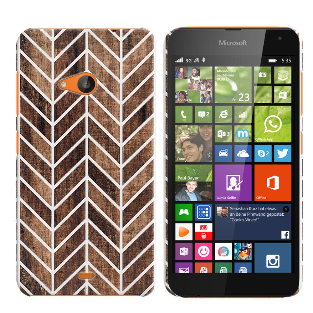 Microsoft Nokia Lumia 535 Wood Chevron Back Cover Case