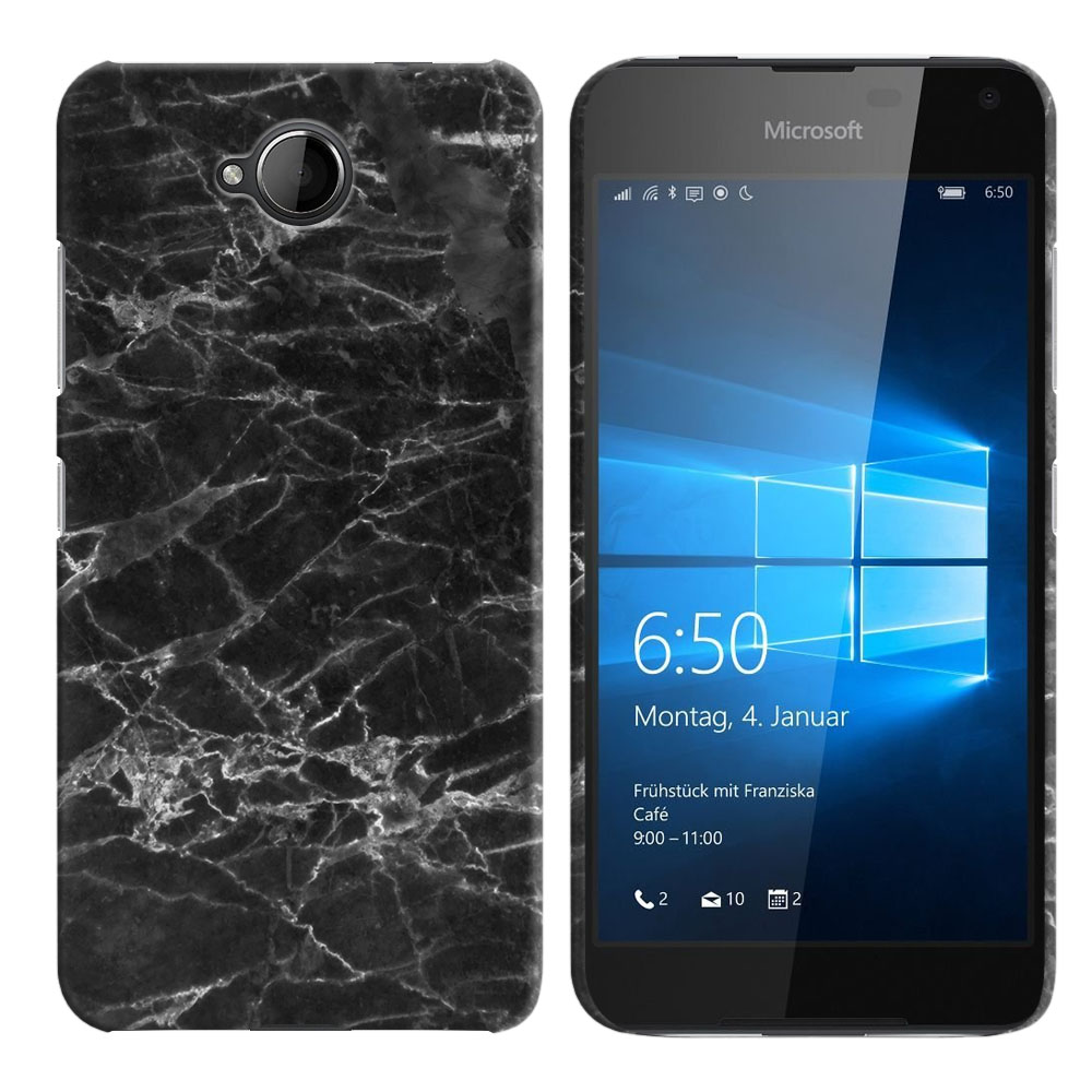 Microsoft Nokia Lumia 650 Black Stone Marble Back Cover Case