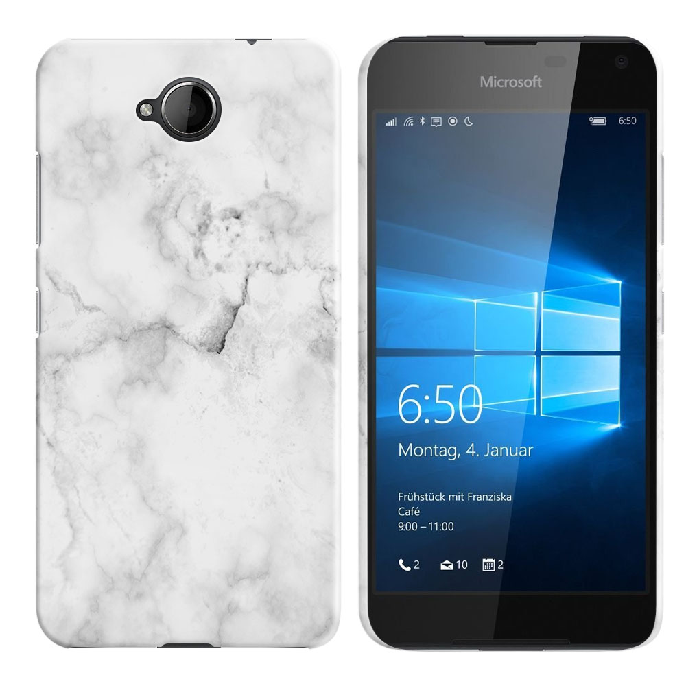 Microsoft Nokia Lumia 650 Grey Cloudy Marble Back Cover Case