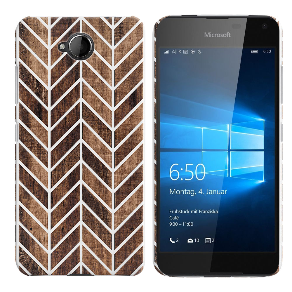 Microsoft Nokia Lumia 650 Wood Chevron Back Cover Case