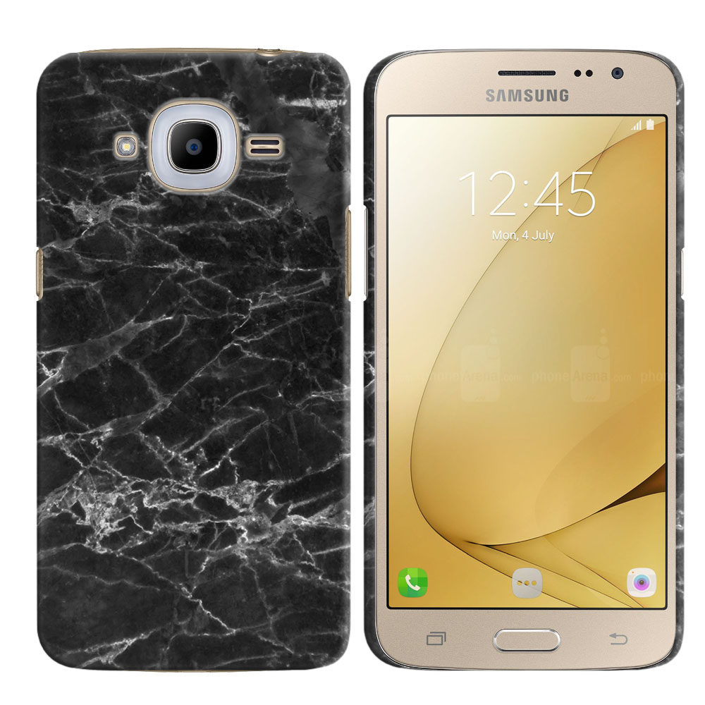 Samsung Galaxy J2 2016 J210 2nd Gen Black Stone Marble Back Cover Case