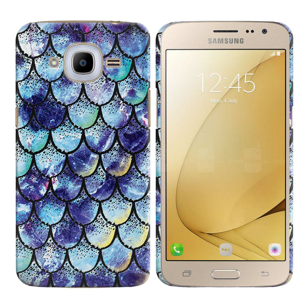 Samsung Galaxy J2 2016 J210 2nd Gen Purple Mermaid Scales Back Cover Case