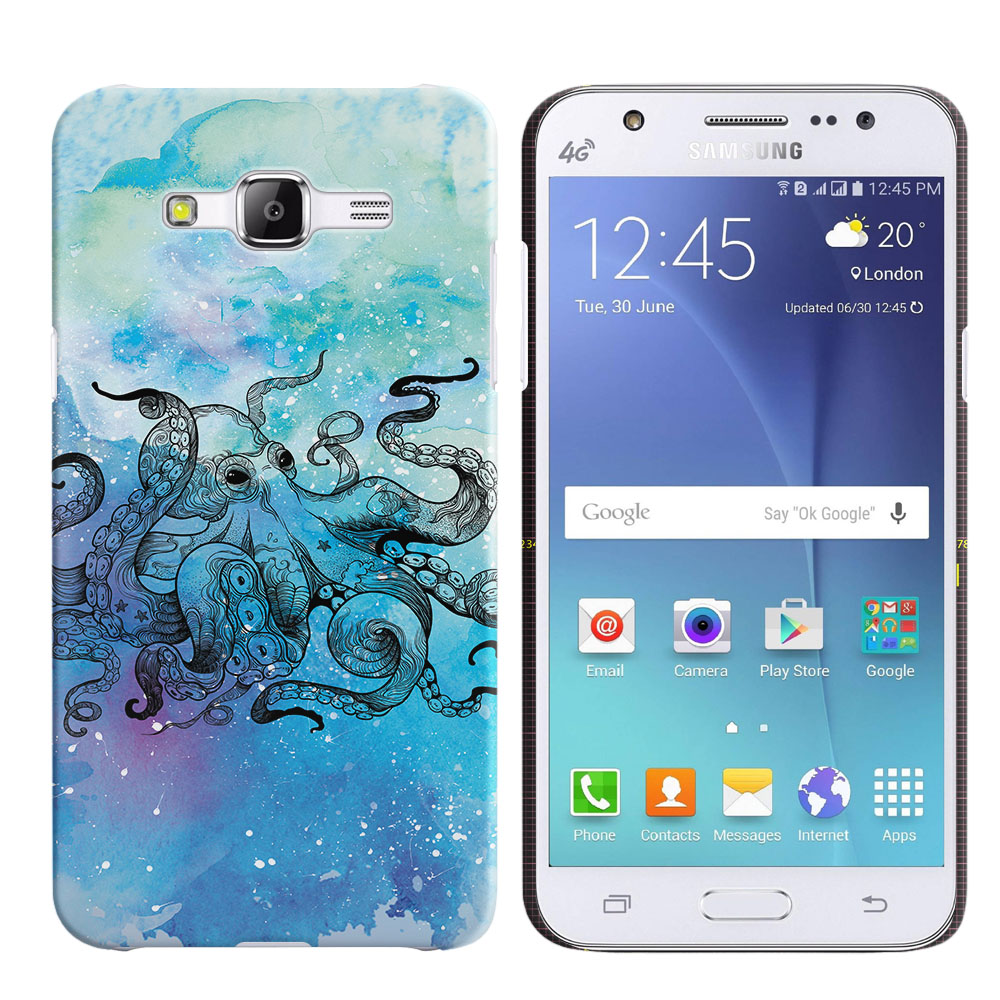Samsung Galaxy J5 J500 Blue Water Octopus Back Cover Case