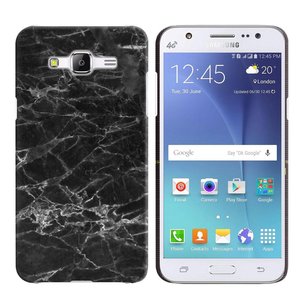 Samsung Galaxy J5 J500 Black Stone Marble Back Cover Case