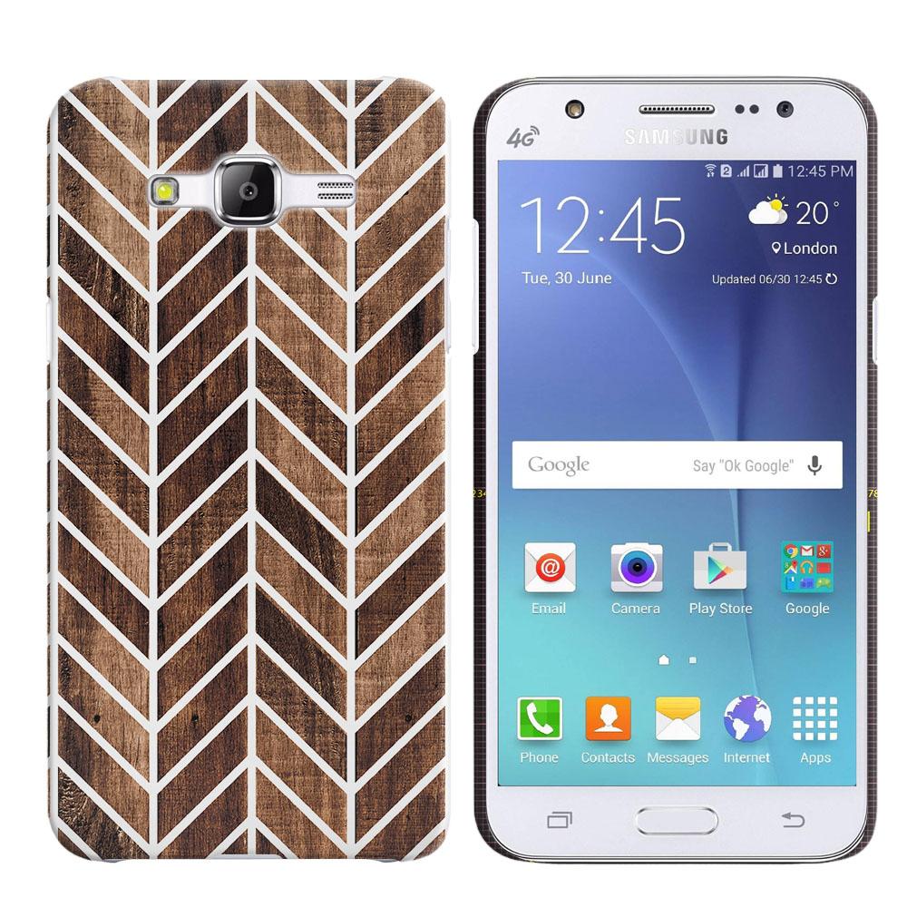Samsung Galaxy J5 J500 Wood Chevron Back Cover Case