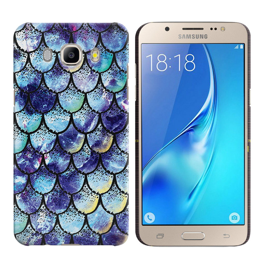 Samsung Galaxy J5 J510 2nd Gen 2016 Purple Mermaid Scales Back Cover Case
