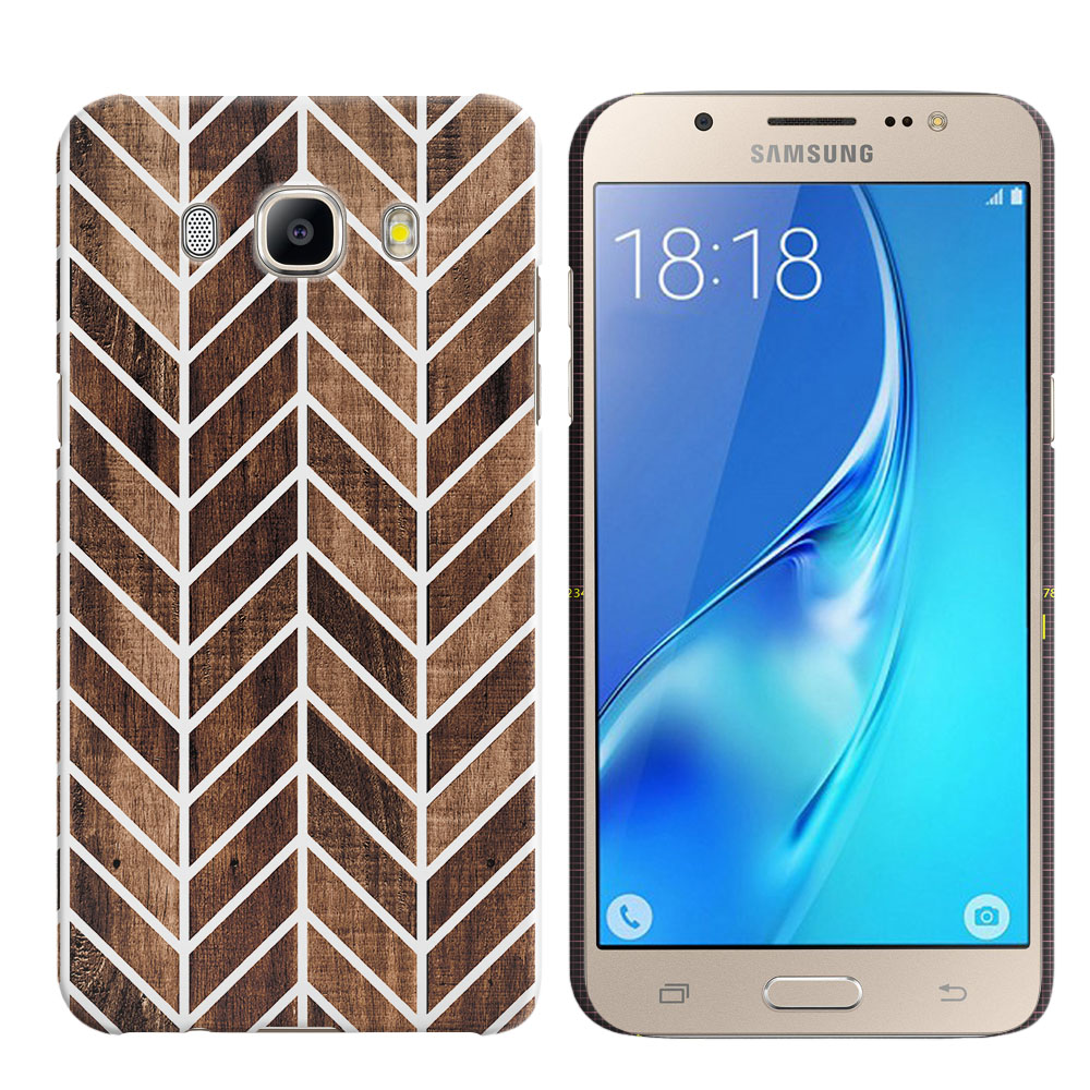 Samsung Galaxy J5 J510 2nd Gen 2016 Wood Chevron Back Cover Case