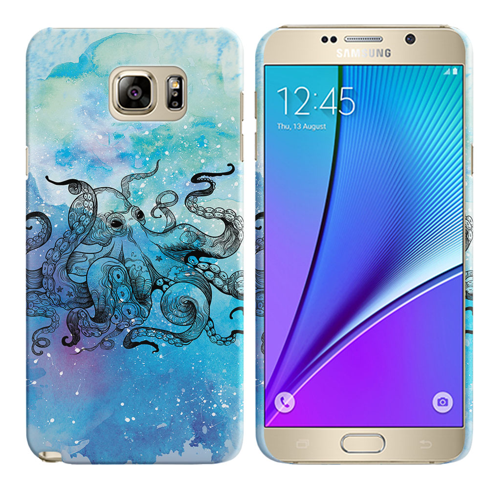 Samsung Galaxy Note 5 N920 Blue Water Octopus Back Cover Case