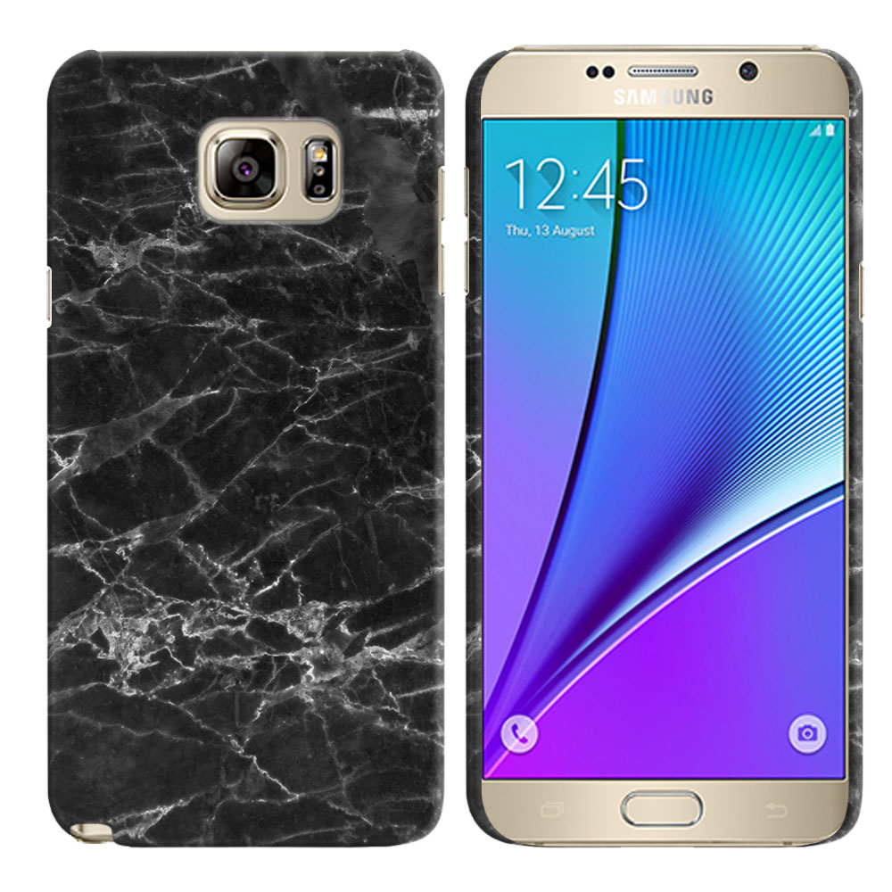 Samsung Galaxy Note 5 N920 Black Stone Marble Back Cover Case