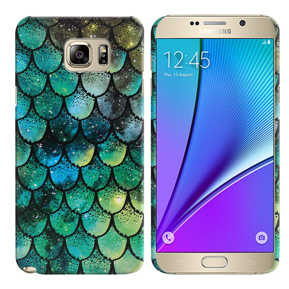 Samsung Galaxy Note 5 N920 Green Mermaid Scales Back Cover Case