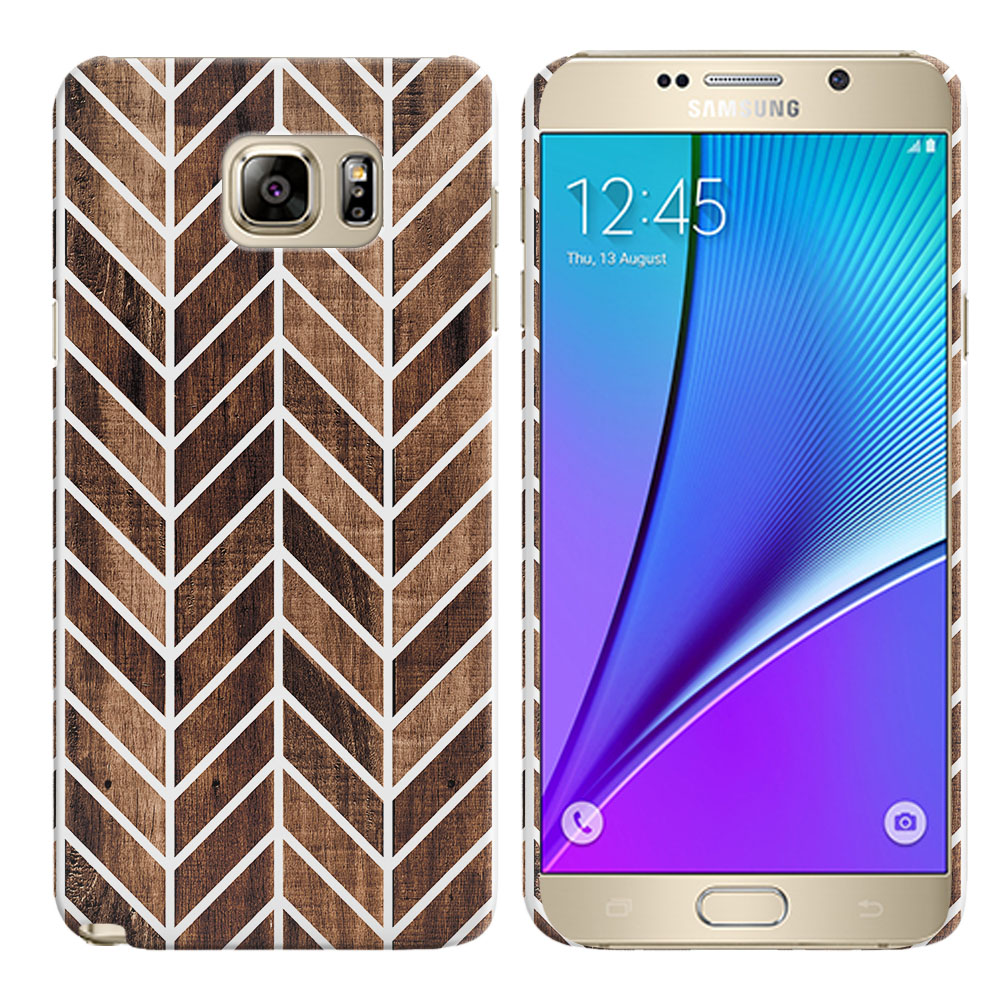 Samsung Galaxy Note 5 N920 Wood Chevron Back Cover Case