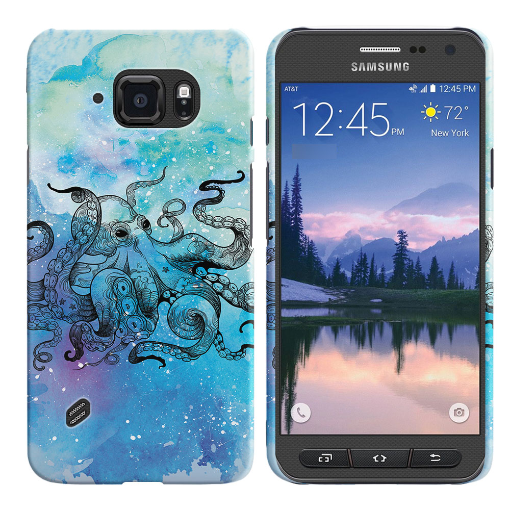 Samsung Galaxy S6 Active G890 Blue Water Octopus Back Cover Case